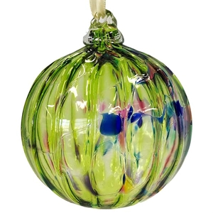Lime Green and Multi Color Marbled Ornament
