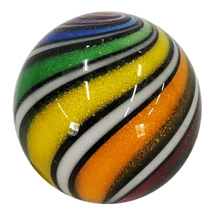 "Hot House Glass - ""Rainbow Banded Swirl 1 1/2"""