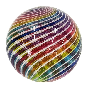 "Hot House Glass - ""Transparent Rainbow on White Swirl"""
