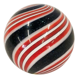 "Hot House Glass - ""Red, Black, and White Swirl"""