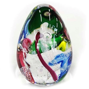 "Glass Eye Studio Egg Weight - ""Festival"""