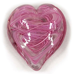 "Glass Eye Studio Hearts of Fire Paperweight - ""Tickled Pink"""