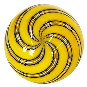 "Hot House Glass - ""Yellow Swirl with Pin Stripes"""